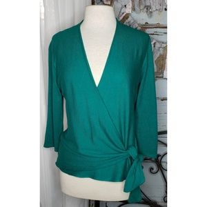 Ann Taylor Green wrap shirt
